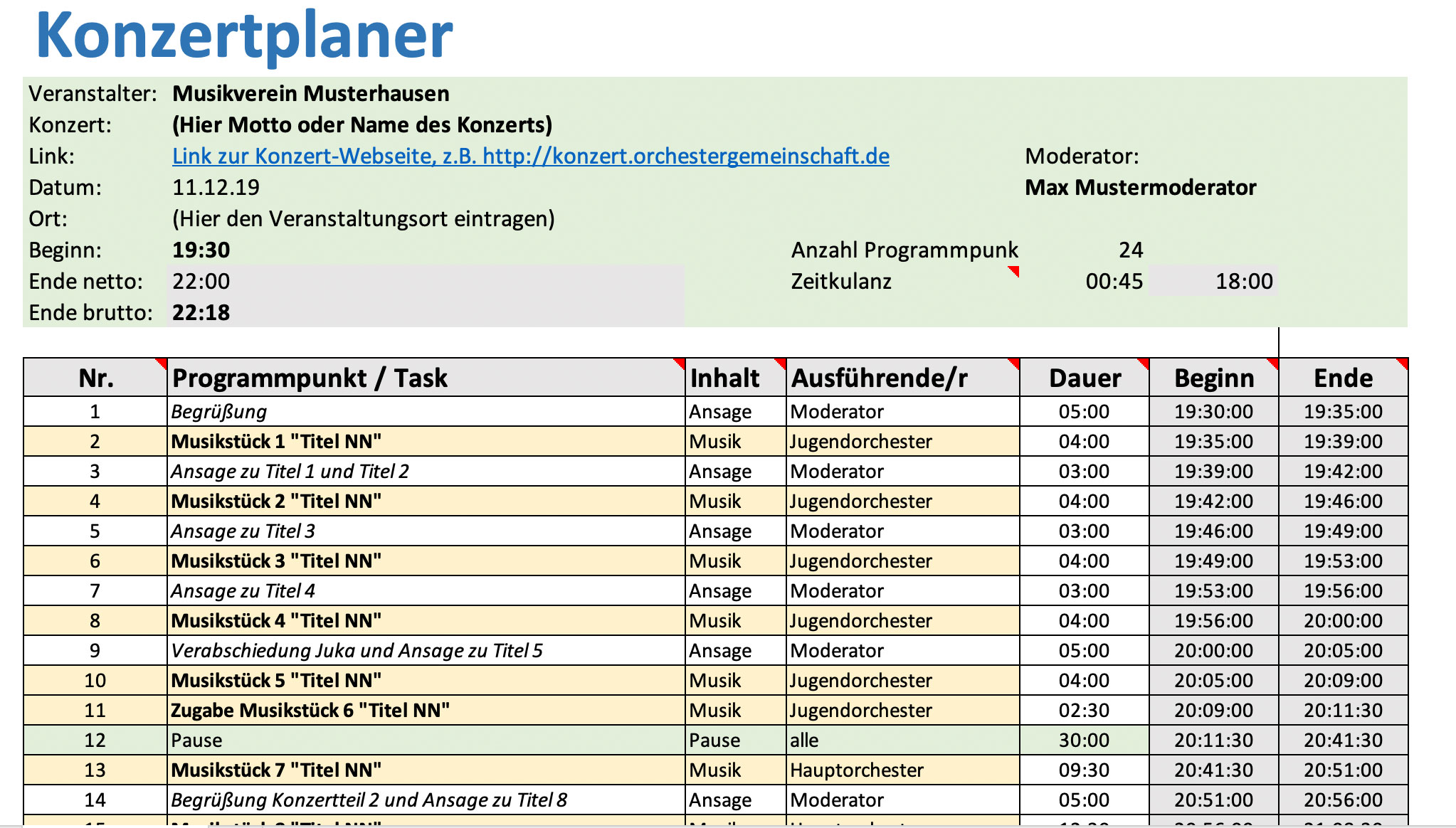 Konzertplaner für Musikvereine und Orchester als Excel Arbeitshilfe zum Gratis Download von Michael Schönstein
